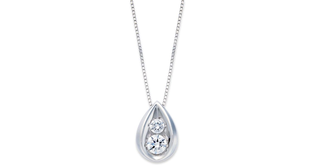 Macy's Diamond Teardrop Pendant Necklace In 14k Yellow Or
