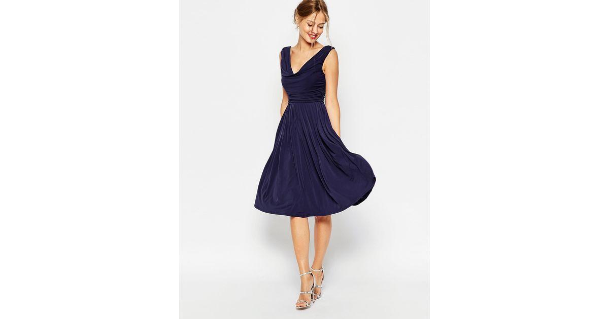 Asos Wedding Cowl Neck Midi Dress In Blue