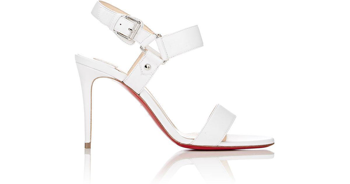 Christian Louboutin Sova Buckled Leather Sandals in White