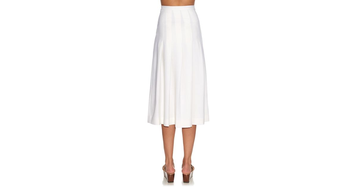 Mother of pearl Dune Wool-Piqué Pleated Midi Skirt in