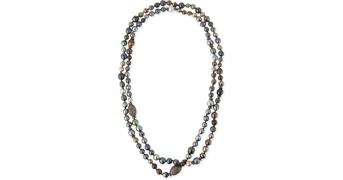 Sheryl lowe Tahitian Pearl & Pave Diamond Long Necklace in