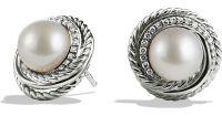Lyst - David Yurman Pearl Crossover Earrings With Diamonds ...