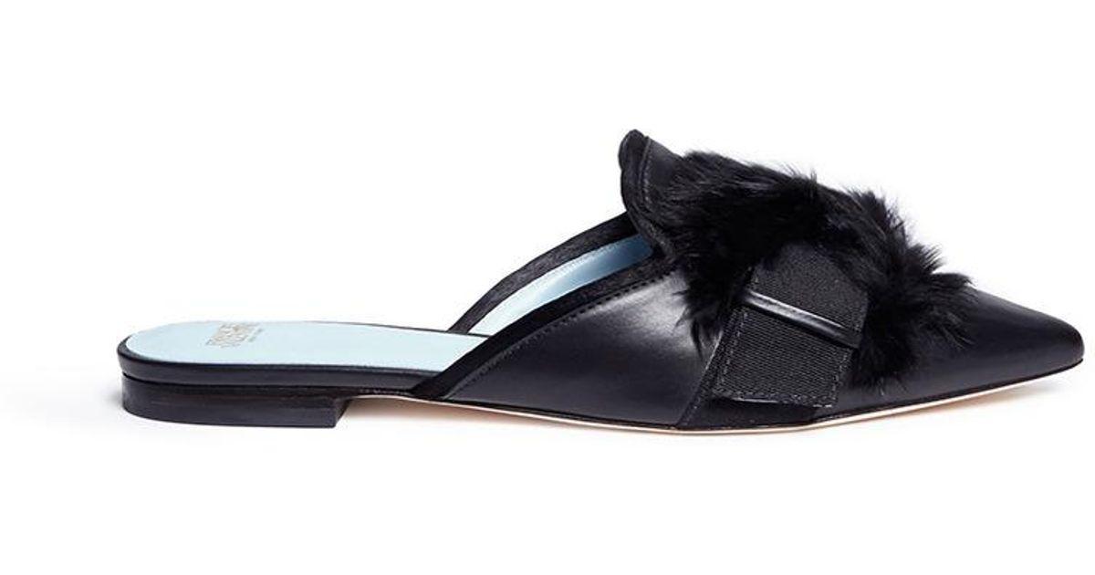 Lyst Frances Valentine Paulette Fur Pompom Leather