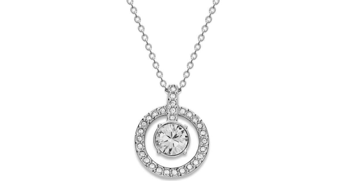 Swarovski Necklace, Double Circle Crystal Pendant in