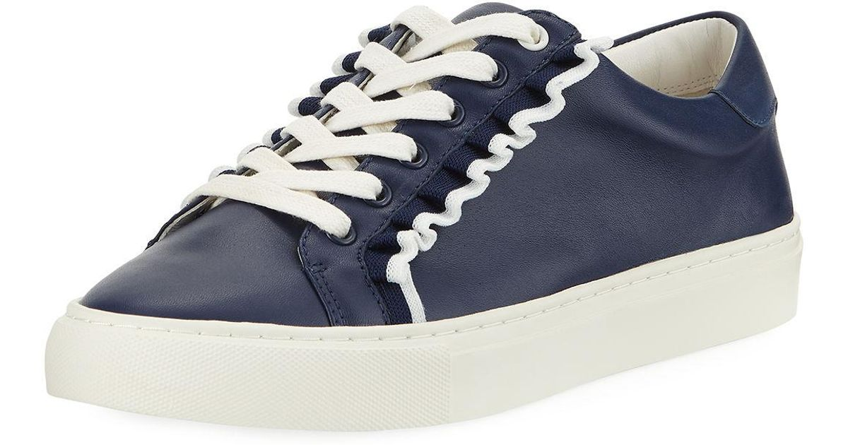 Tory Sport Ruffle Leather Low-top Sneakers in Blue - Save 56% - Lyst