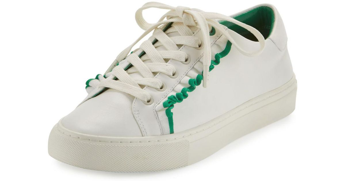 Tory Sport Ruffle Leather Low-top Sneakers in White - Lyst