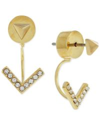 Vince camuto Gold-tone Pyramid Stud Pave V Front And Back ...
