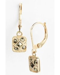 Judith jack Square Drop Earrings in Gold (GOLD/ MARCASITE ...