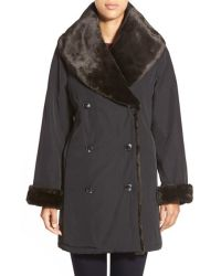 Jane post Faux Fur Shawl Collar Primaloft Coat in Black | Lyst