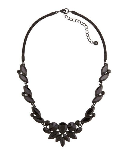 Lydell nyc Jet Black Crystal Bib Necklace in Black (BLACK