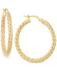 Macy's Twisted Hoop Earrings In 14k Gold in Gold (Yellow ...