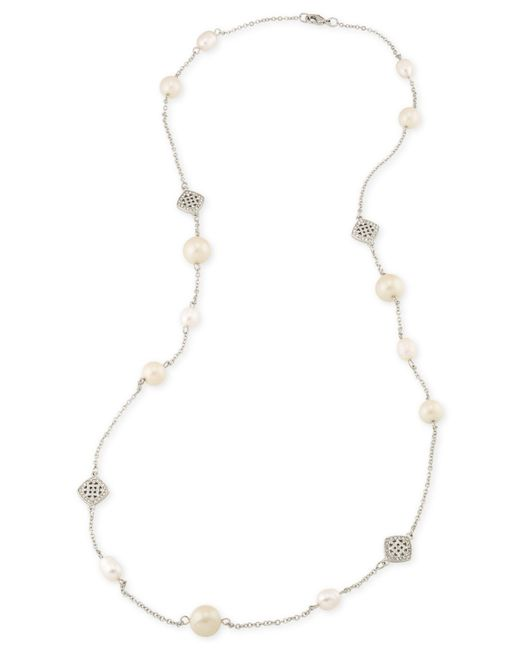 Carolee Silver-tone Imitation Pearl Pavé Long Necklace in