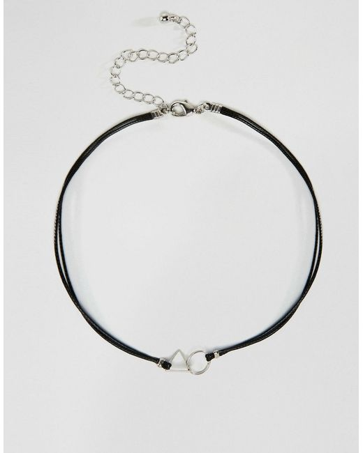 Asos Cord Interlocking Shapes Choker Necklace in Silver