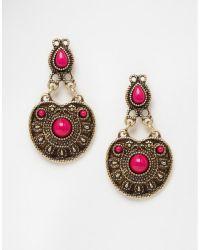 Asos Western Earrings in Pink (Fuschia) | Lyst