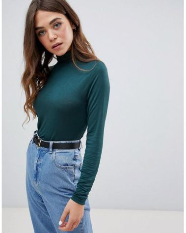 Pimkie - High Neck Long Sleeve Top In Green - Lyst