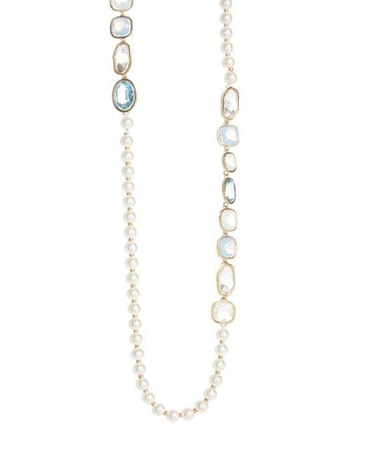 St. john Swarovski Crystal & Glass Pearl Rope Necklace