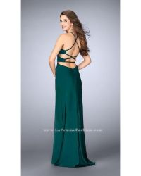 La femme Strappy Open Back Halterneck Long Prom Dress in ...