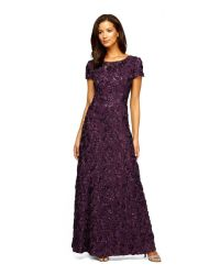 Alex evenings Petite Sequined-lace Rosette-rose Gown in ...