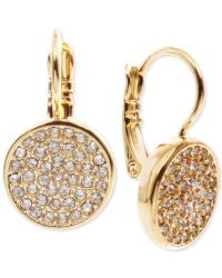 Anne klein Crystal Pave Disc Drop Earrings in Metallic | Lyst