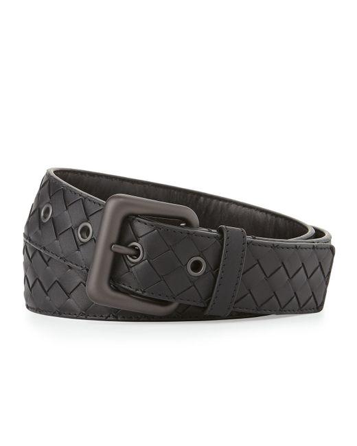 Bottega veneta Mens Intrecciato Leather Belt in Black for