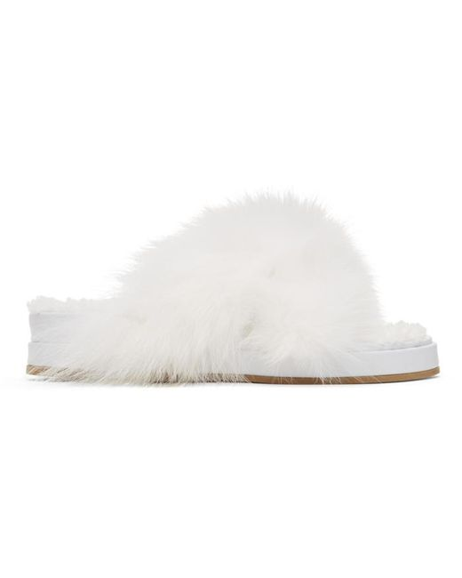 Mr  mrs italy White Furry Slides in White  Lyst