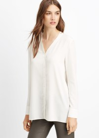 Vince Silk Button-up Blouse in White | Lyst