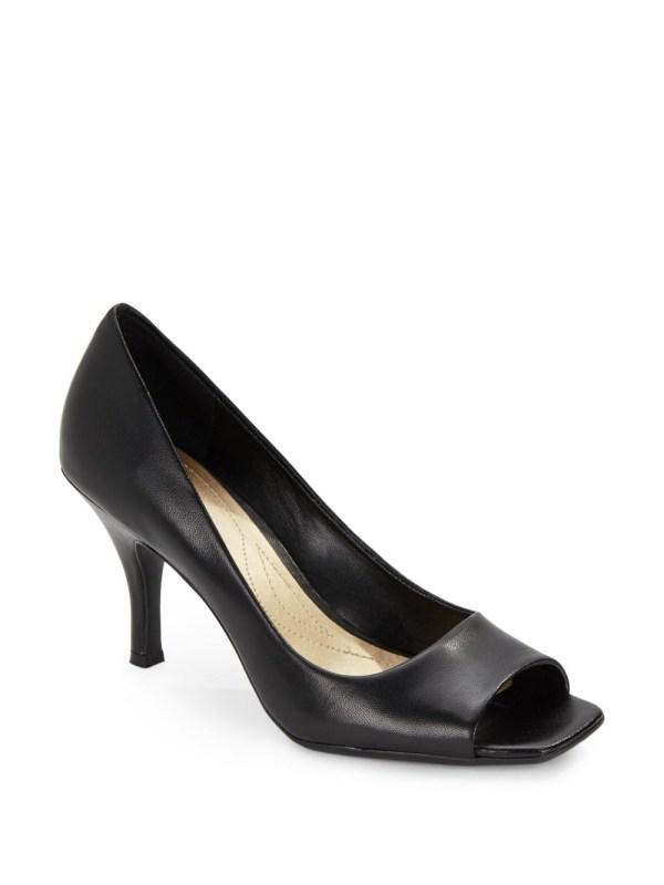 Tahari Riddle Leather Peep-toe Pumps In Black Lyst