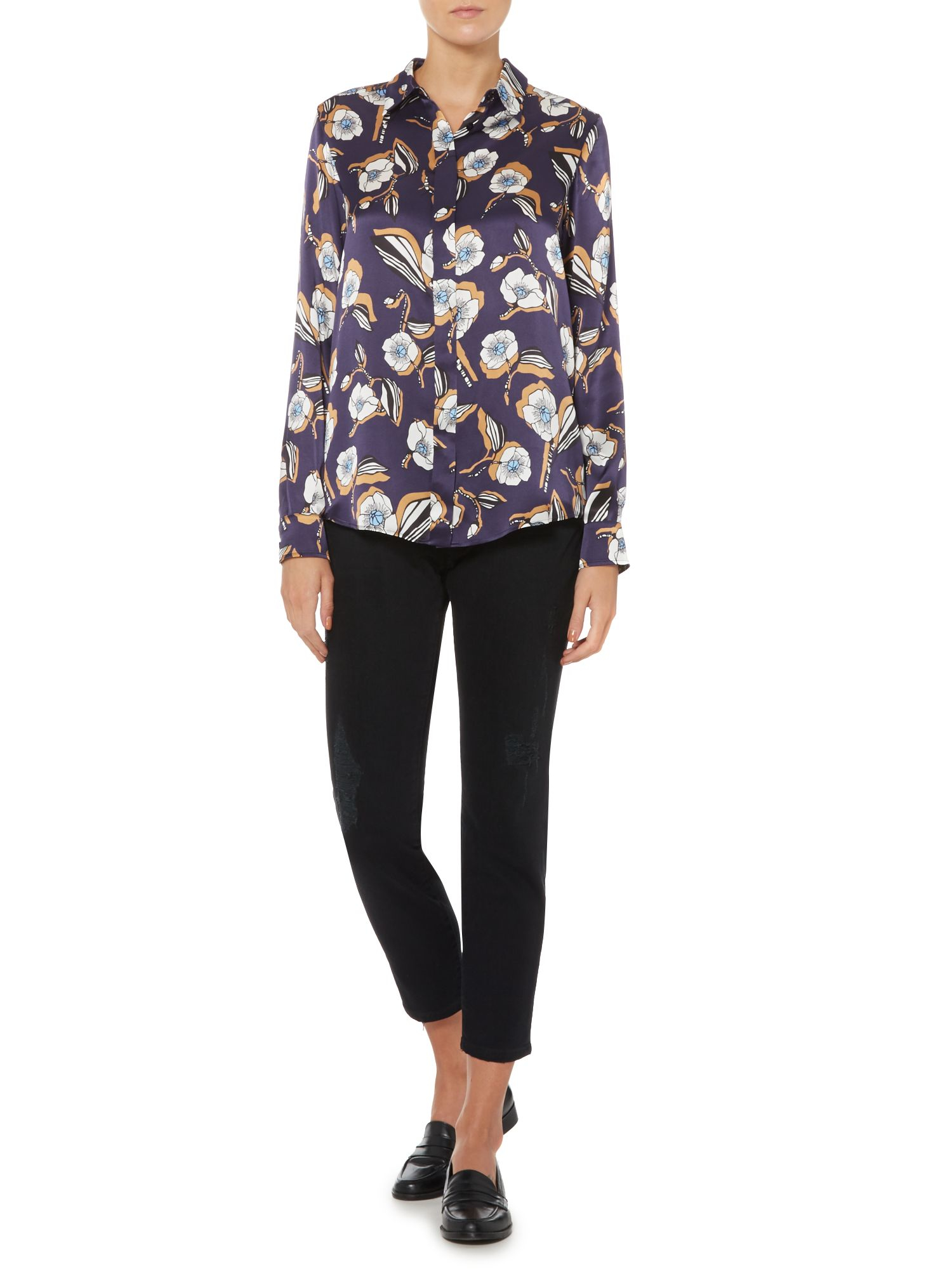 Sportmax code Floral Pattern Silk Shirt in Blue  Lyst