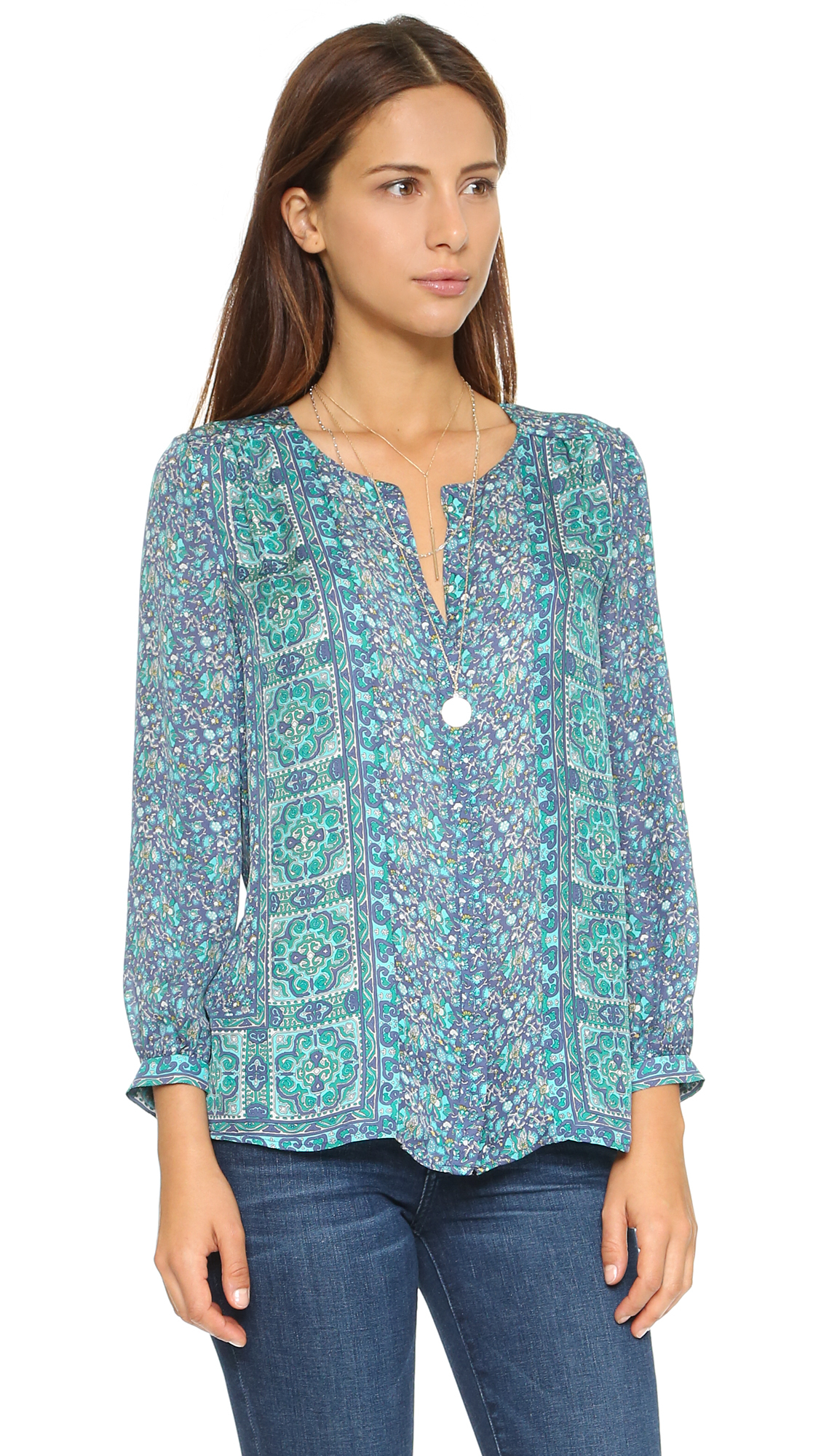Joie Pazima Silk Blouse In Blue Lyst