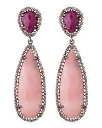 Lyst - Bavna Pink Opal Ruby Teardrop Earrings in Pink