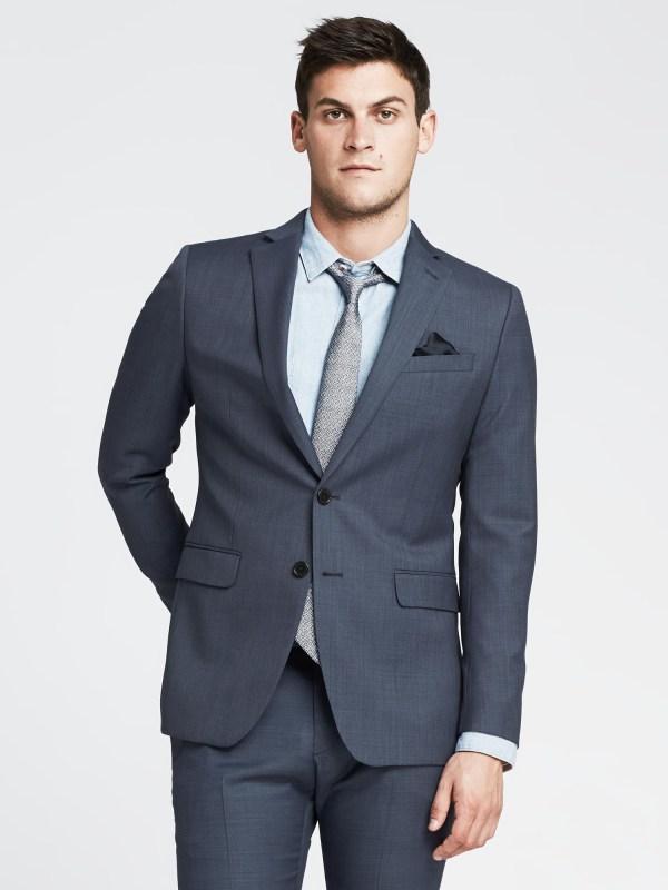 Banana Republic Modern Slim Blue Italian Wool Suit Jacket