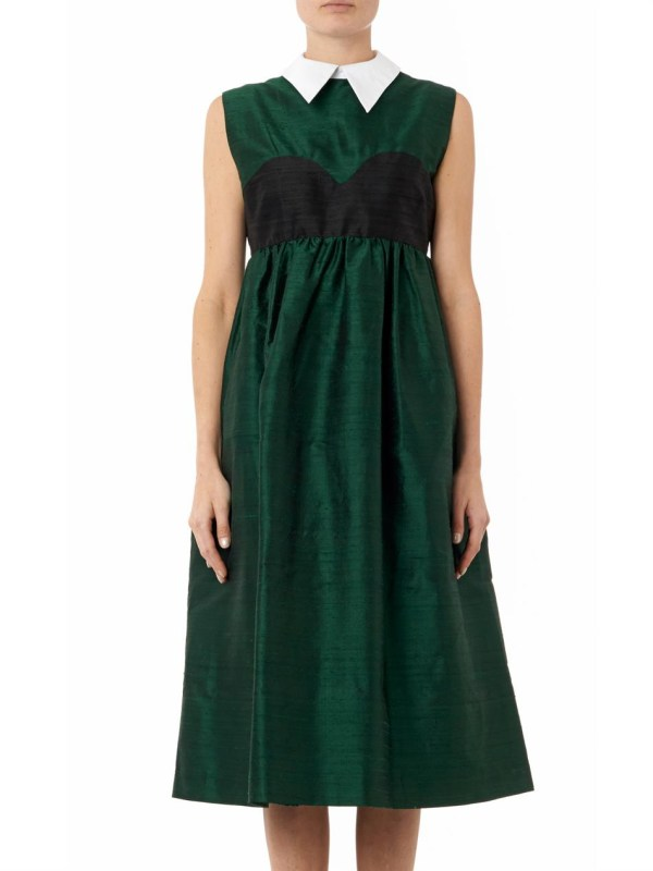 Lyst - House Of Holland Aurora Raw-silk Dress In Green
