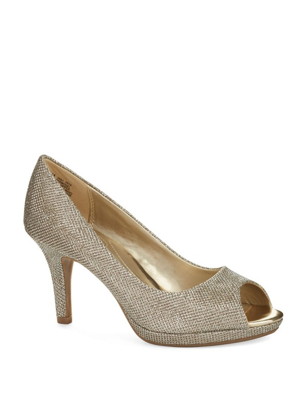 Bandolino Supermodel Peep Toe Pumps In Metallic Lyst
