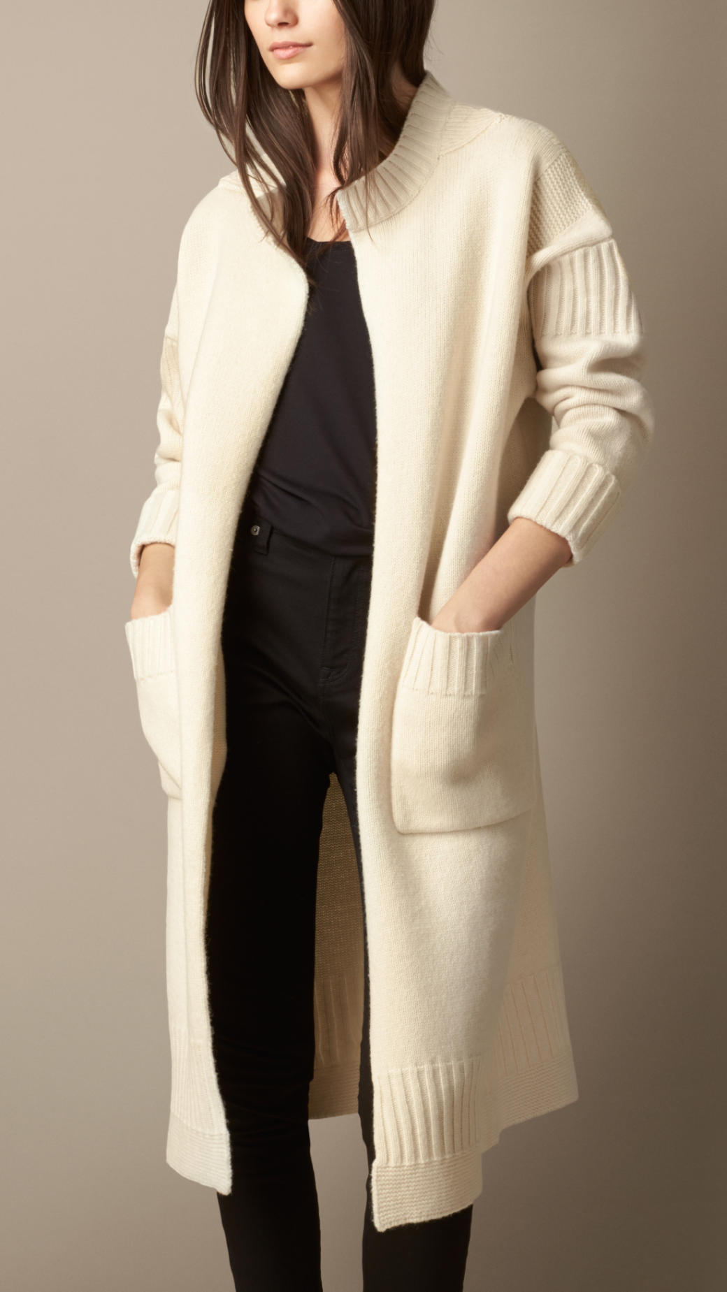 Lyst  Burberry Guernsey Detail Wool Cardigan Coat in Natural
