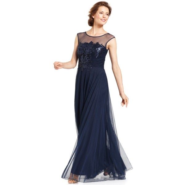 Js Collections Floralsequin Illusion Gown In Blue Navy