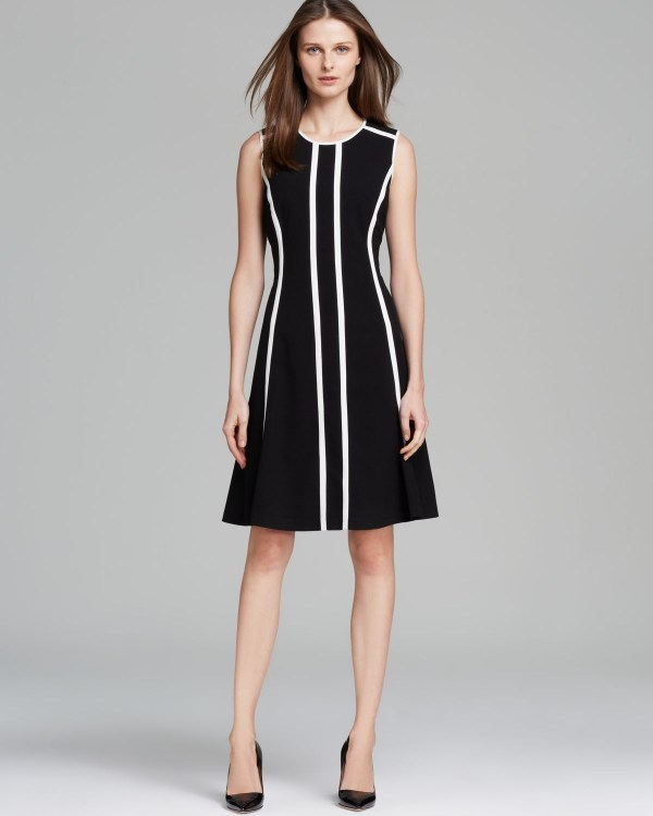 Lyst - Calvin Klein Dress Pinstriped Fit And Flare In Black