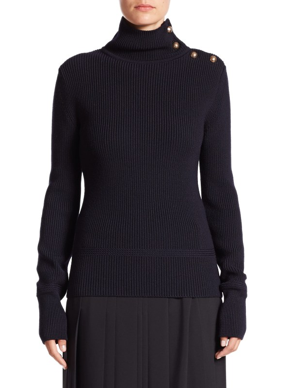 Lyst - Chlo Button- Turtleneck Sweater In Blue
