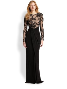 fec1af4979430 David Meister Embroidered Mesh Jersey Gown In Black Lyst - imgUrl