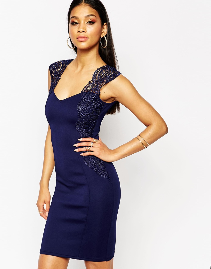 336ed29e6004 Lipsy Bodycon Dress With Lace Applique Shoulder Navy In Blue Lyst
