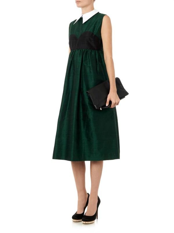 House Of Holland Aurora Raw-silk Dress In Green - Lyst
