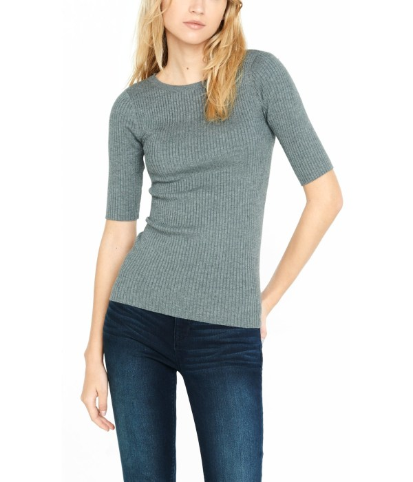 Express Ribbed Elbow Sleeve Sweater In Gray Lyst