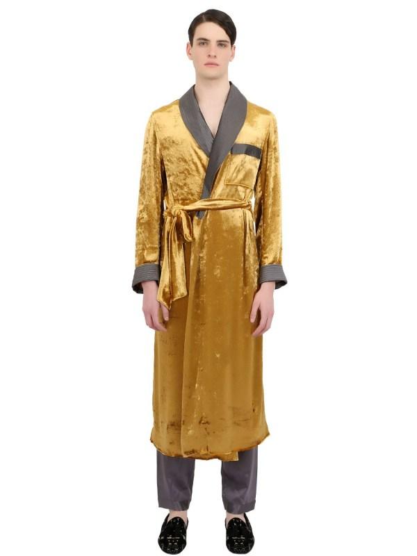 Lyst - Loretta Caponi Handmade Viscose Velvet Robe In