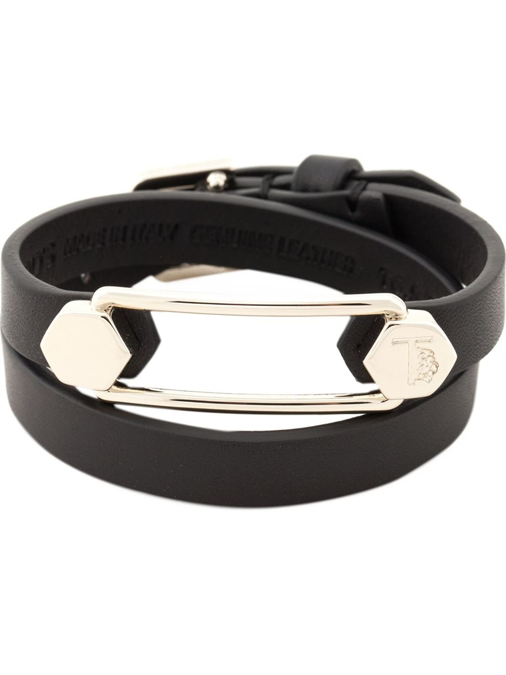 Lyst  TodS Leather And Metal Cuff Bracelet in Black