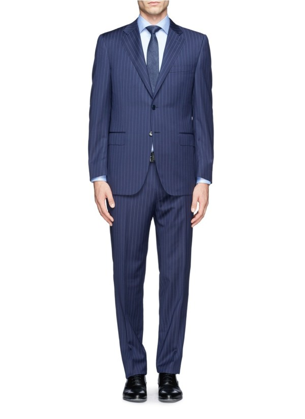 Canali Chalkstripe Suit In Blue Men And Green