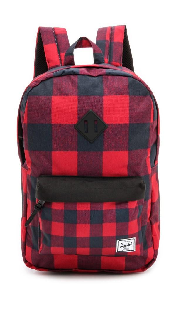 Herschel Backpack Red Black Plaid