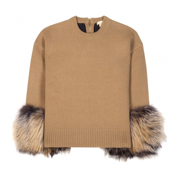 Michael Kors Cashmere And Wool-blend Fur-trimmed Sweater