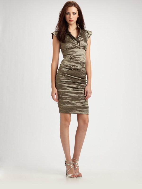 Lyst - Nicole Miller Cap Sleeve Cocktail Dress In Metallic