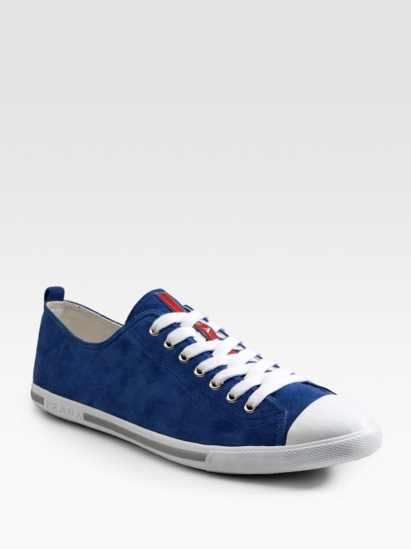 Prada Suede Sneakers In Blue Men Lyst