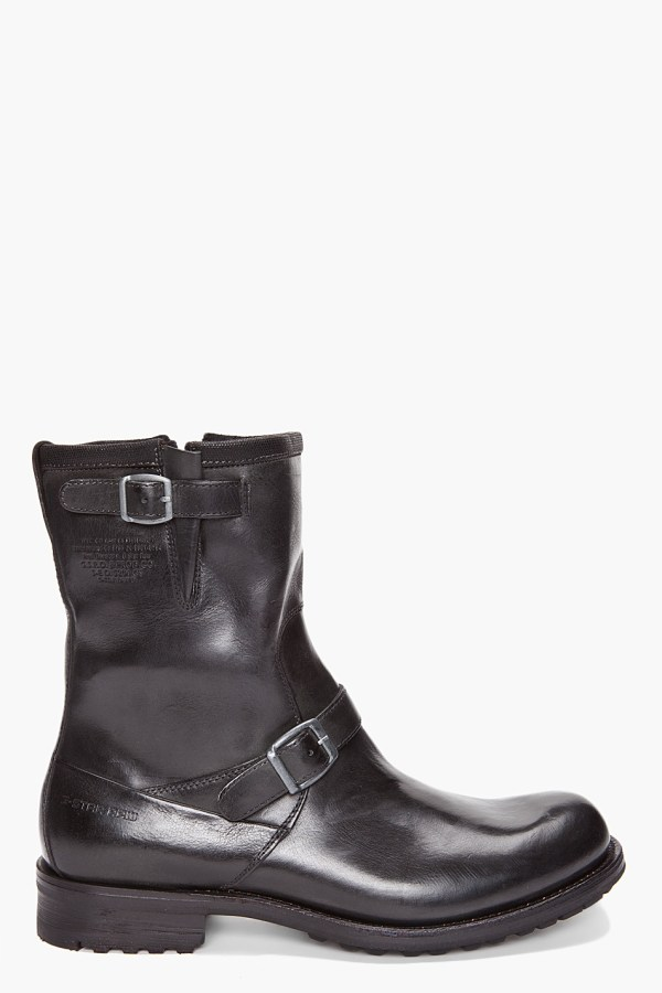 Star Raw Patton Rigger Boots In Black Men Lyst