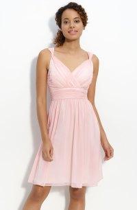 Donna Morgan Ruched Chiffon Dress in Pink (blush)   Lyst
